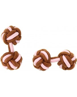 Brown and Light Pink Silk Knot Cufflinks