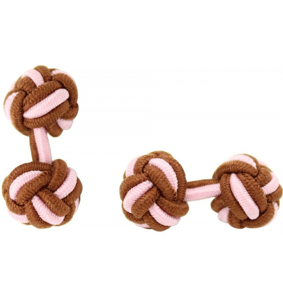 Brown and Light Pink Silk Knot Cufflinks