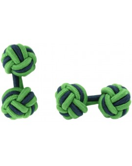 Grass Green and Navy Blue Silk Knot Cufflinks