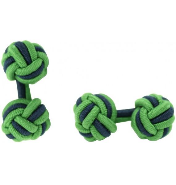 Grass Green and Navy Blue Silk Knot Cufflinks