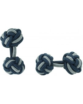 Navy Blue and Grey Silk Knot Cufflinks