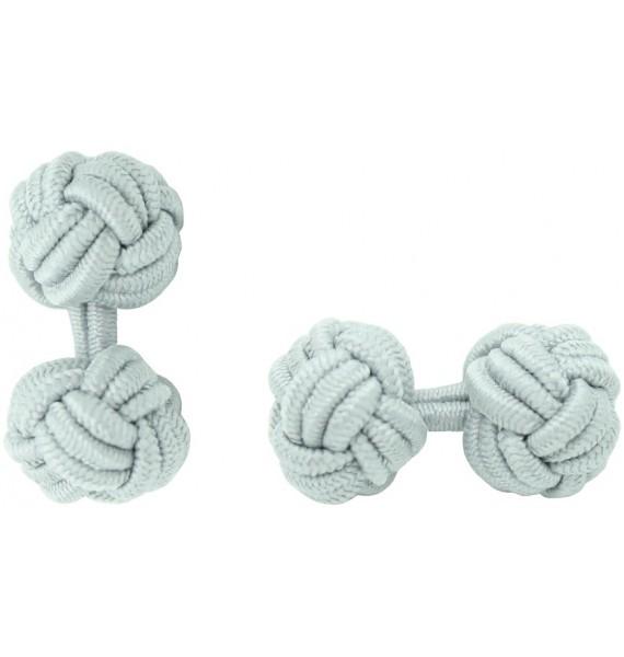 Light Grey Silk Knot Cufflinks