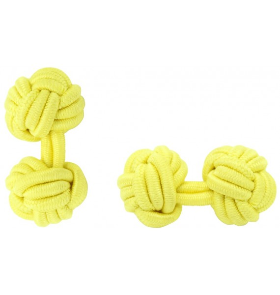Yellow Silk Knot Cufflinks