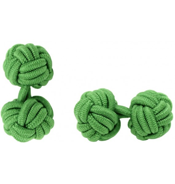 Grass Green Silk Knot Cufflinks