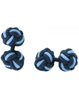 Navy Blue and Light Blue Silk Knot Cufflinks