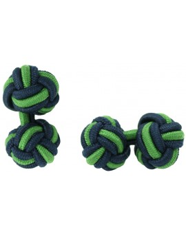 Navy Blue and Grass Green Silk Knot Cufflinks
