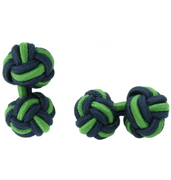 Navy Blue and Grass Green Silk Knot Cufflinks