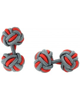 Grey and Red Silk Knot Cufflinks