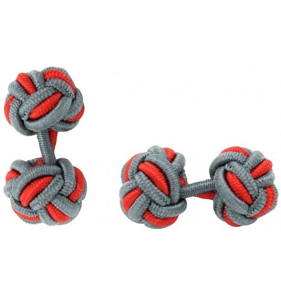 Grey and Red Silk Knot Cufflinks