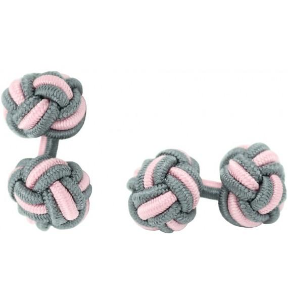 Grey and Light Pink Silk Knot Cufflinks