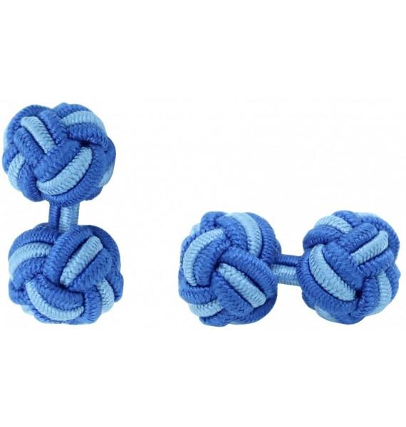 Cobalt Blue and Light Blue Silk Knot Cufflinks