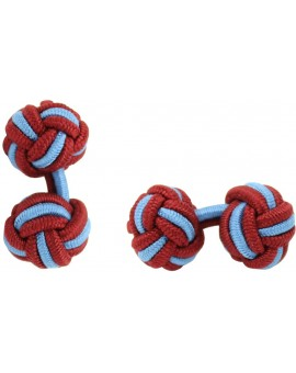 Burgundy and Light Blue Silk Knot Cufflinks