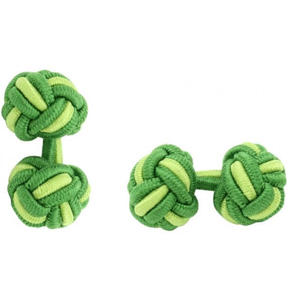 Grass Green and Pistachio Green Silk Knot Cufflinks