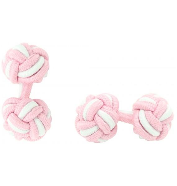 Light Pink and White Silk Knot Cufflinks