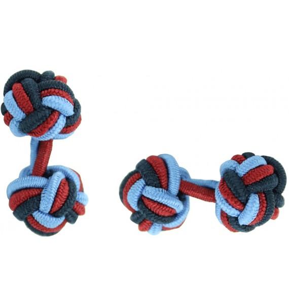 Light Blue, Burgundy and Navy Blue Silk Knot Cufflinks