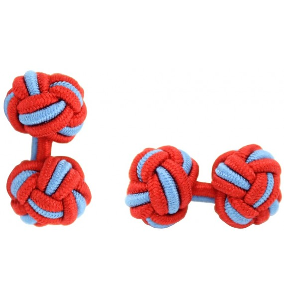 Red and Light Blue Silk Knot Cufflinks