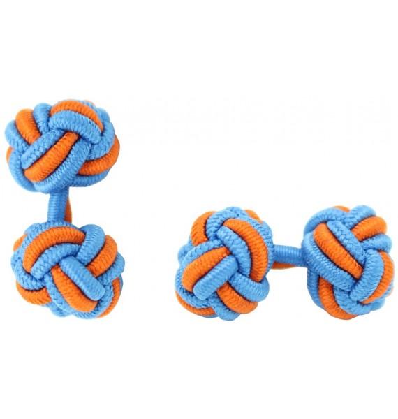 Blue and Orange Silk Knot Cufflinks