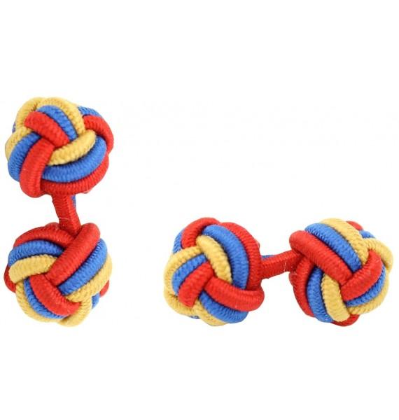 Camel, Cobalt Blue and Red Silk Knot Cufflinks