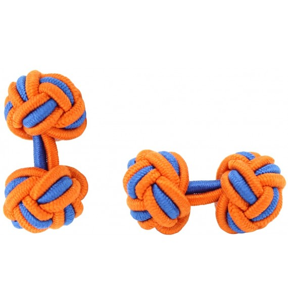 Orange and Cobalt Blue Silk Knot Cufflinks