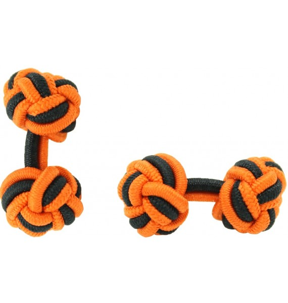 Orange and Black Silk Knot Cufflinks