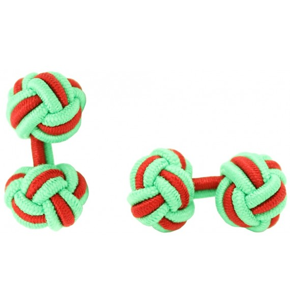 Lime Green and Red Silk Knot Cufflinks
