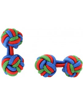 Cobalt Blue, Red and Green Grass Silk Knot Cufflinks