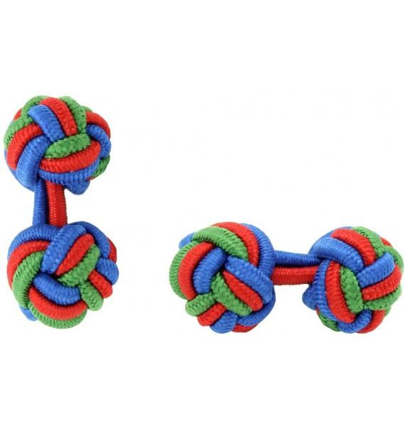 Cobalt Blue, Red and Green Grass Silk Knot Cufflinks