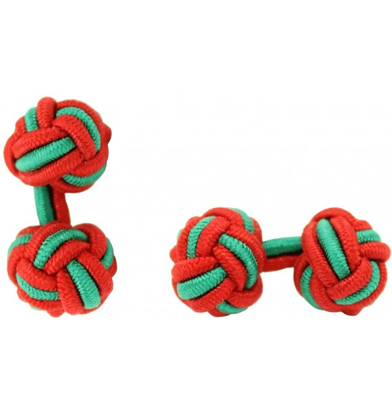 Red and Green Silk Knot Cufflinks