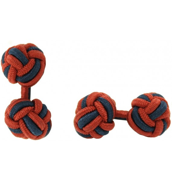 Dark Red and Navy Blue Silk Knot Cufflinks