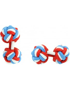 Red, White and Blue Silk Knot Cufflinks