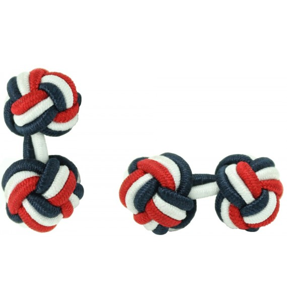 Navy Blue, White and Red Silk Knot Cufflinks