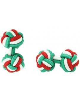 Green, White and Red Silk Knot Cufflinks