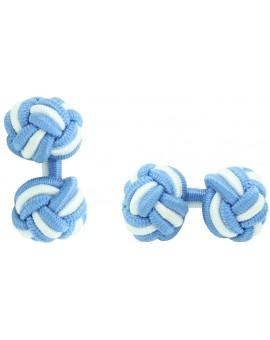 Gemelos Bola Elástico Azul Claro y Blanco