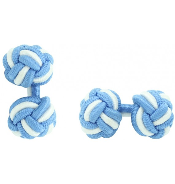 Light Blue and White Silk Knot Cufflinks