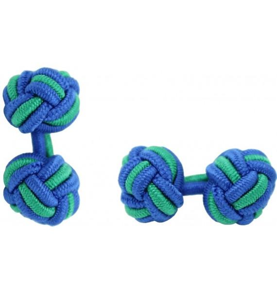 Cobalt Blue and Green Silk Knot Cufflinks