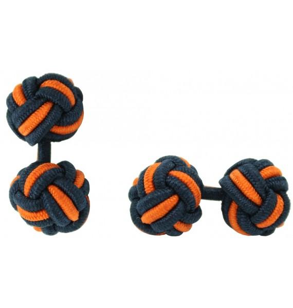 Navy Blue and Orange Silk Knot Cufflinks