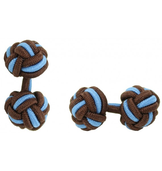 Dark Brown and Light Blue Silk Knot Cufflinks