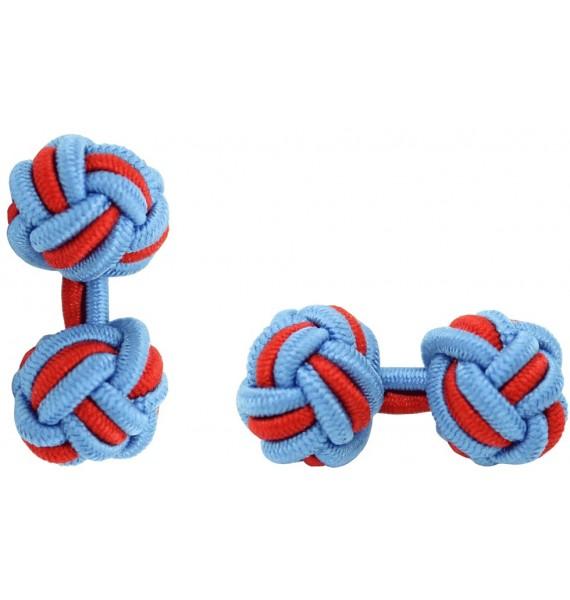 Light Blue and Red Silk Knot Cufflinks