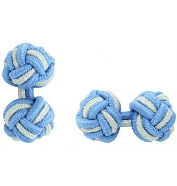 Light Blue and Light Grey Silk Knot Cufflinks