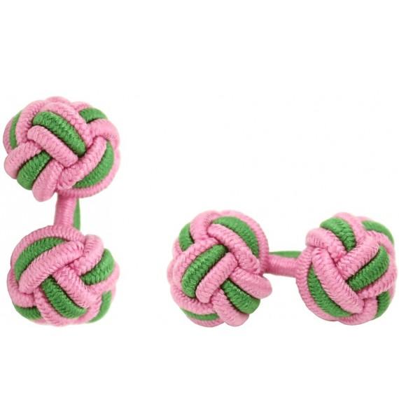 Pink and Grass Green Silk Knot Cufflinks