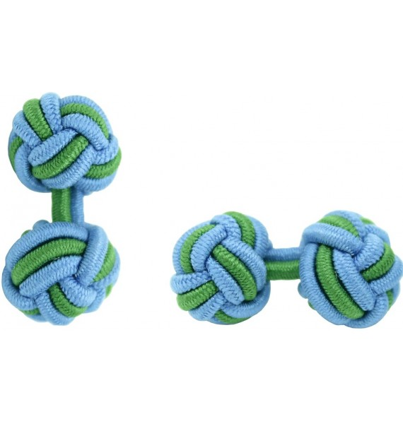 Light Blue and Grass Green Silk Knot Cufflinks