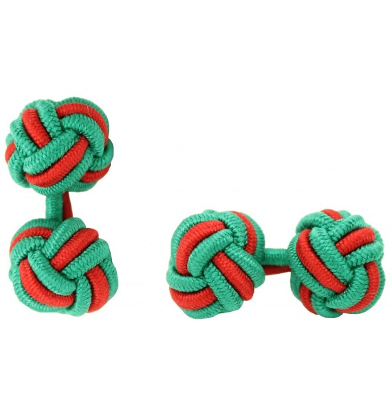 Green and Red Silk Knot Cufflinks