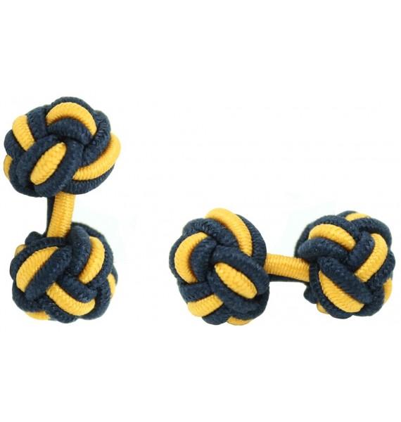 Navy Blue and Dark Yellow Silk Knot Cufflinks