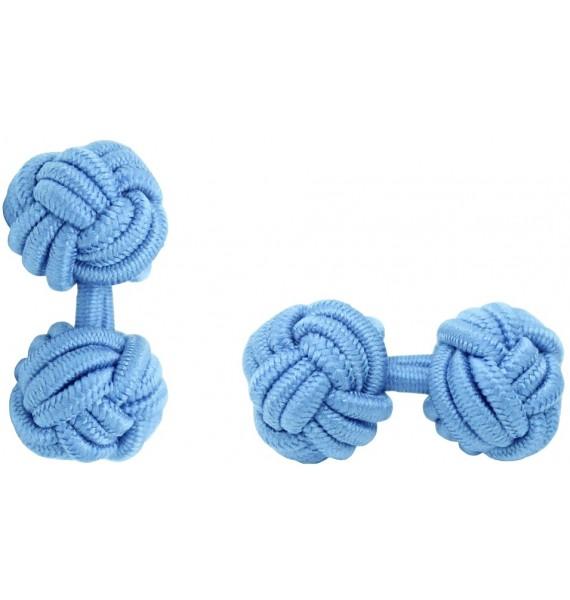 Light Blue Silk Knot Cufflinks