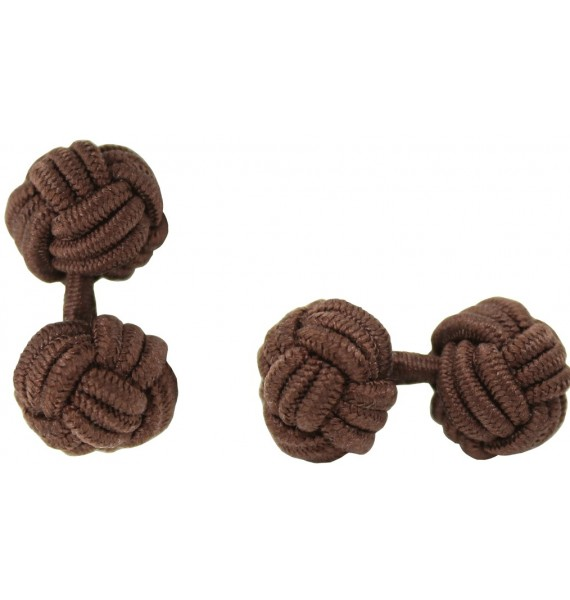 Dark Brown Silk Knot Cufflinks