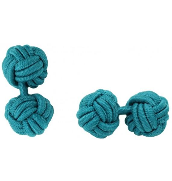 Bottle Green Silk Knot Cufflinks