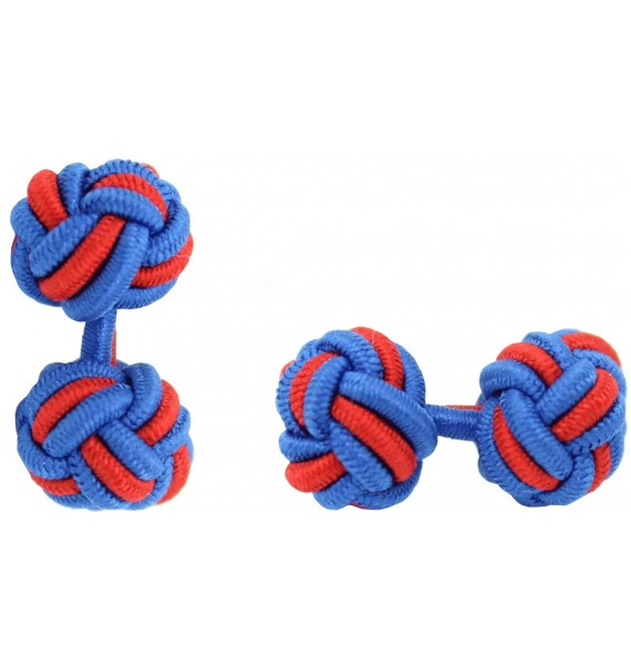 Cobalt Blue and Red Silk Knot Cufflinks