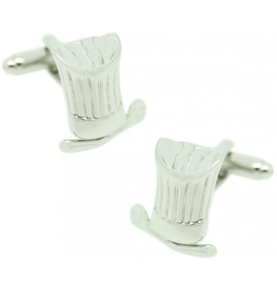 Silver Chef Hat Cufflinks