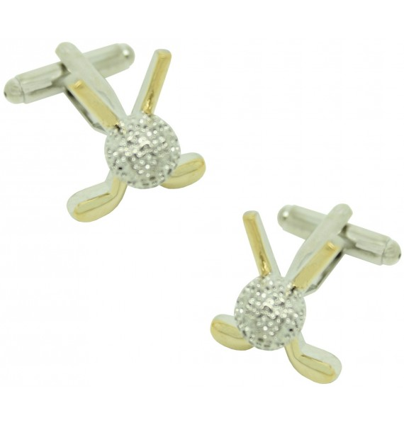 Golden Golf Clubs Cufflinks