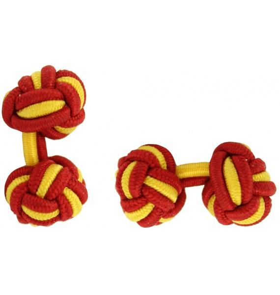 Red and Mustard Yellow Silk Knot Cufflinks